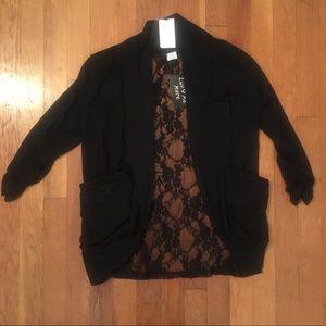 Sweaters - Black Lace Back Open Cardigan